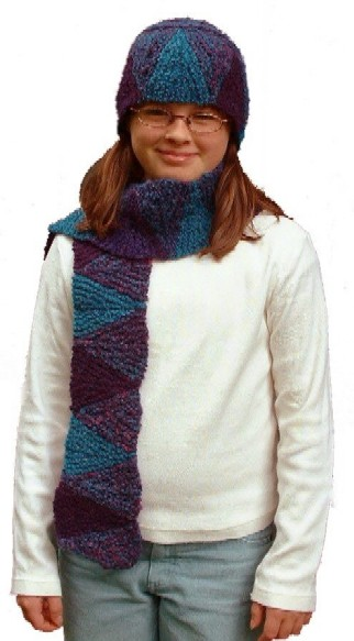 Short Row Chevron Scarf and Hat